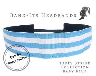 Baby Blue Headband - Running Headband - Thick Headband - Preppy Headband - No Slip Headband - Yoga Headband - Baby Blue White Taffy Stripe