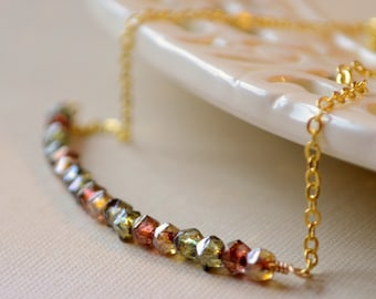 Autumn Necklace, Row of Tiny Glass Beads, Gold Copper Olive Green, Gold Plated Jewelry