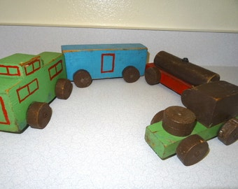 Toy Train Set Home Made Primitive Wood