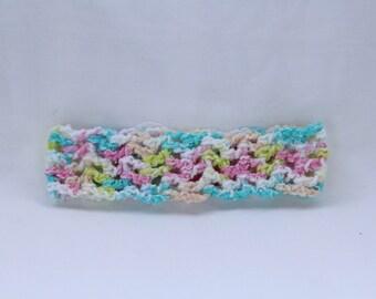 Handmade self crocheted baby girl headband in multi pastels