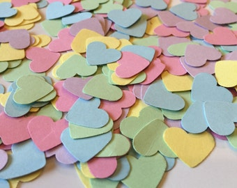 Confetti Hearts, pastel heart confetti, shower decorations, 1st birthday confetti, table sprinkle, baby shower confetti, wedding confetti