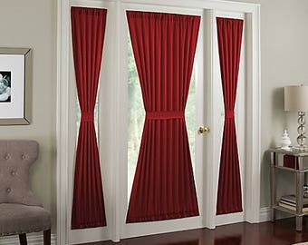 FRENCH DOOR Panel -Colors, Single Curtain, No Ruffle, Sidelight, Patio, Foyer, Unlined, Semi-sheer, FREE Cinch Tieback, Finished