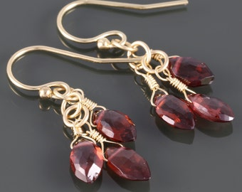 Garnet Cluster Earrings. Three Stones. Goldfill Ear Wires . Genuine Gemstone. January Birthstone. f16e220