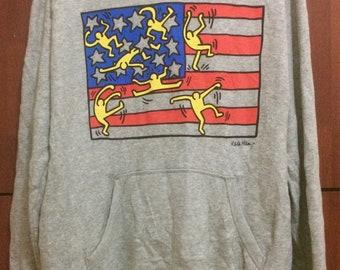 Keith Haring Sweatshirt Streetwear Hoodies American Pop Art Design Andy Warhol graffiti Size XL