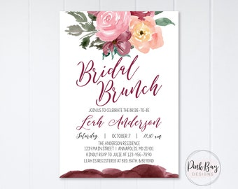 Burgundy Floral Bridal Brunch Invitation, Floral Bridal Brunch Invitation, Bridal Shower Invitation, Watercolor Bridal Shower Invite, Floral