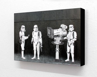 Banksy Star Wars Stormtroopers Tv Crew  6 x 4 Inches ( 15 x 10 cm ) Postcard Size Block Mounted Print