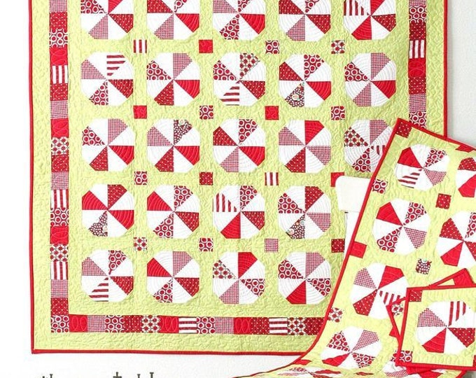 Peppermint Twist Quilt Pattern #115 by Cluck Cluck Sew - Includes Quilt, Table Runner and Hot Pads Patterns (W1426)