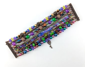 Desert Multi Strand Bracelet - Boho, hippie, gypsy, colorful, beaded, exclusive, unique, brazilian - Mixed colors (Purple/Blue/Green/Brown)
