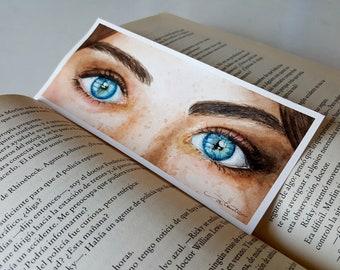 Original watercolor eyes bookmark
