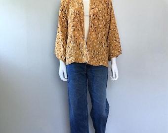 Vintage Leaf print Kimono 30s 40s short kimono jacket