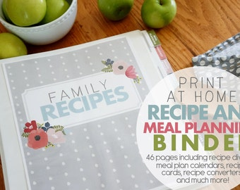 Printable Recipe and Meal Planning Binder Now with Editable Pages- INSTANT DOWNLOAD