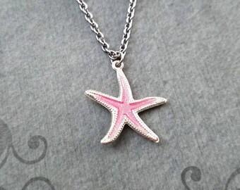 Pink Starfish Necklace SMALL Starfish Jewelry Ocean Necklace Beach Necklace Beach Jewelry Charm Necklace Tropical Jewelry Sea Necklace