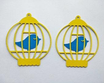 Bird Cage Decor, Paper Bird Cage, Bird Cutout, Bird Cage Cutout, Card Decoration, Paper Embellishment, Bird Die Cut, Scrapbooking - Set of 4
