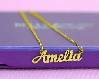 Gold Name Necklace, Gifts for Her, Gifts for Mum, Mother Daughter, Name Pendant, Personalized Name Necklace Only 49