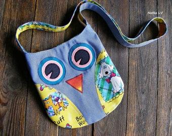 Owl bag, girl's owl bag, kids summer bag, toddler fabric bag, children's cross body bag, 3 - 6 years girl shoulder bag, handmade, jeans bag