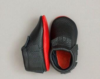 Choose color)) red soles moccasins Newborn, infant, toddler soft shoes