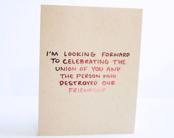 Funny Wedding Card / Real Pink Foil