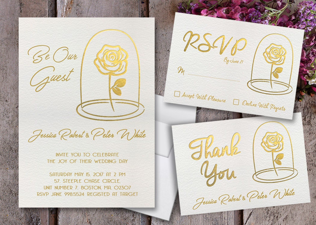 Charmant Description. Beauty And The Beast Wedding Invitations ...