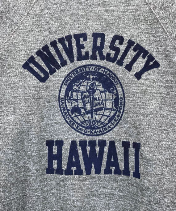 crewneck spell out pullover big hawaii style Vintage print streetwear hawaii University surfing sweatshirts logo of pullover 70's qxUY0SX