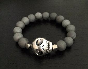 Skull Bracelet, Skull Gray Glitter Marble Gemstone Bracelet, Druzy Bracelet, Druzy Stone Bracelet