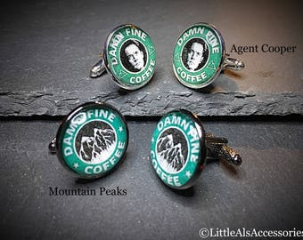 Twin Peaks Cufflinks, Mens Cufflinks, Owl Cave Twin Peaks, Owl Cave Cufflinks, Twin Peaks Red Room, Twin Peaks, Chevron Cufflinks, Mens Gift