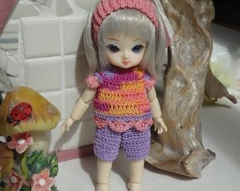 Crochet clothes for 5 inch Ai Jun Planning BJD doll Capri Pants Top Headband Pink Purple Yellow