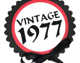 40th Birthday Decoration - Vintage 1978, Cake Topper, Candy Pick, Black, Red and White