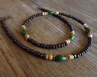 Natural wood necklace for MEN - trendy beaded jewelry - tribal, surfer, for him