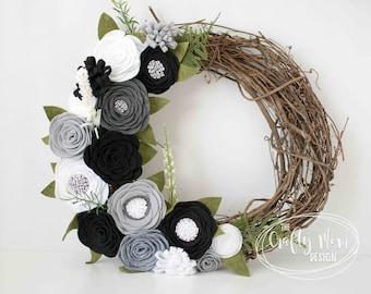Halloween Inspired Felt Flower Wreath || Grapevine Wreath || Front Door Wreath || Mantel Wreath ||  Nursery Decor || Colorful Floral Decor