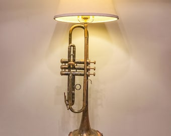 Trumpet Lamp Repurposed Vintage with custom live edge timber base