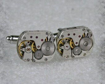 Watch Movement Cufflinks - Steampunk Cufflinks . Steampunk jewelry ,  Vintage Clockwork Watch Movement Cuff Links