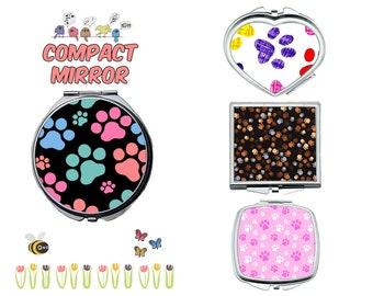 Dog paw compact mirror, makeup mirror, cosmetic mirror, portable mirror, double sided compact makeup mirror, purse mirror