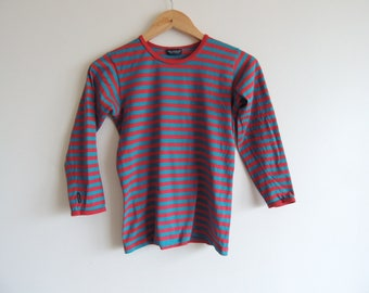 FREE SHIPPING - Vintage MARIMEKKO green and red stripes top, 130 cm tall, kid/teen, made in Finland
