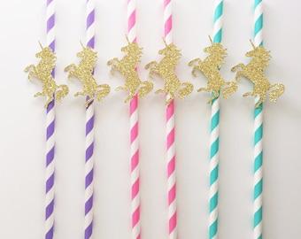 Unicorn papieren rietjes, Unicorn verjaardag, papieren rietjes, de partij van de verjaardag van de Eenhoorn, Unicorn Cakepop, Cakepop Sticks