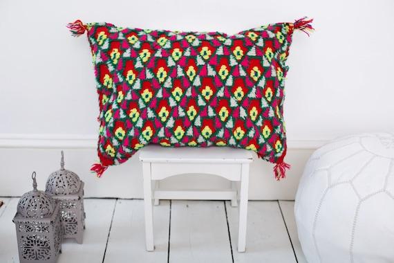 Vintage Moroccan Red  Pattern Kilim Berber Carpet Cushions-lumbar, vintage cushions, home warming, gifts for her, Ramadan, Eid