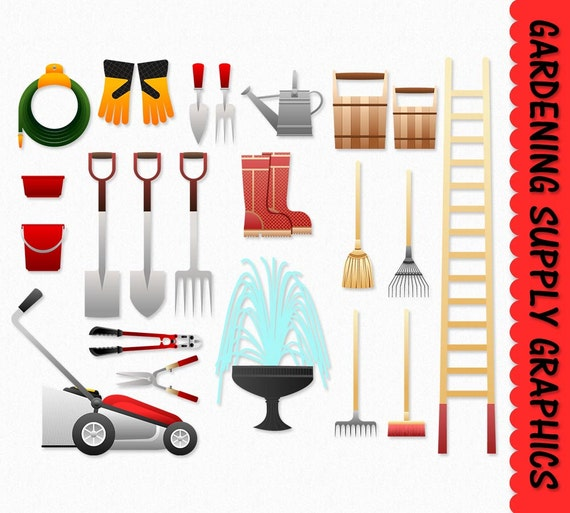 Gardening Clip Art Graphics Supply Tools Clipart Garden
