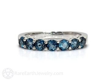 London Blue Topaz Ring Anniversary Band Blue Gemstone Ring December Birthstone Jewelry