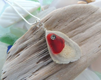 Whitetail Deer Antler with Red Sea Glass Neckalce, Authentic Sea Glass