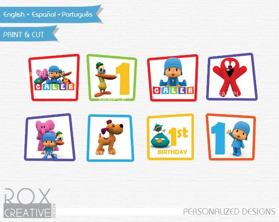 Like this item?  sc 1 st  Etsy & Pocoyo Birthday Cupcake Toppers Pocoyo Favor Tags Napkin