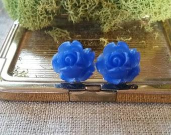 Flower Plugs, Wedding Gauges, Prom Plugs, Royal Blue, Roses