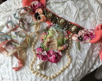 Reserved Liza, fairy  necklace,Midsummer night's dream , Titania ,pearls, rhinestones and beads embroidered,Haskell cabs,silk carnation