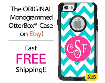 iPhone OtterBox Commuter Case for iPhone X, 8, 8 Plus, 7, 7 Plus, 6/6s, 6 Plus/6s Plus, 5/5s/SE, 5c, Galaxy S  Monogrammed Chevron Aqua Case
