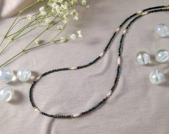 Unique necklace with rare keshi pearls, green spinel and hematite, 23K gold filled