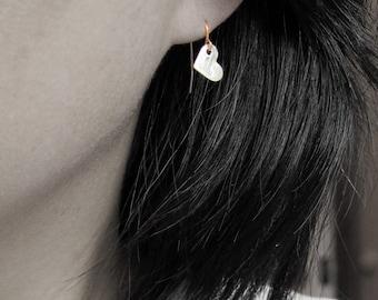 sterling silver heart earrings, heart shape earrings, heart dangle earrings, brushed silver heart earrings, textured silver earrings