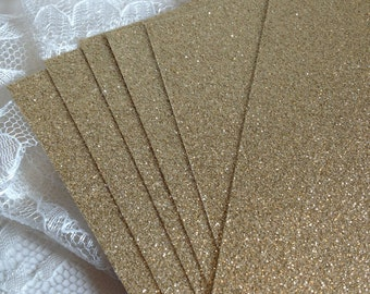 Glitter Cardstock 5x7 for DIY Wedding or Quince Invitations - Table Numbers - Gold Glitter Menus - Programs - Place Cards - Gold