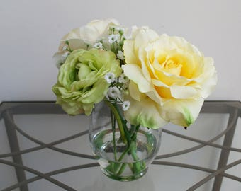 Rose & Ranunculus Faux Flower Arrangement in Glass Vase with Acrylic Water, Yellow, Green and White Flowers, Spring Flowers, Mother's Day
