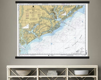 """South Carolina Map.Charleston Harbor. Pull Down Map. , 44""""h x 60""""w,  Antique Nautical Chart, Wall Chart, Hanging Map, Antique Map,"""