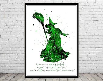 The Wizard of Oz inspired, Wicked Witch, Poster, Watercolor Wicked Witch, Print, Home Decor,Halloween, Kids Room Decor, Wicked Witch quote