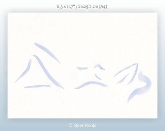 Minimalist blue nude sketch. Female nude. Blue brush drawing for bedroom. Light and subtle watercolor art.
