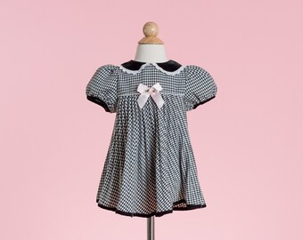 Vintage Black And White Gingham Pleated Dress (Size 24 Months)